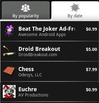Eerste betaalde applicaties verschijnen op Android Market