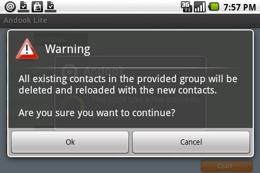 Waarschuwing dat je alle contacten kwijtraakt.