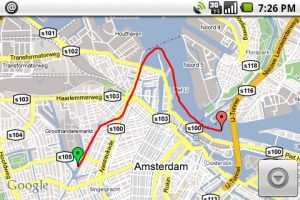 Groen is het beginpunt, rood het eindpunt van de track.