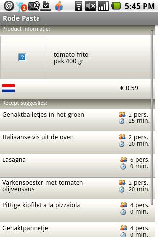 Rode Pasta: recepten opzoeken via Android-barcodes