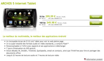 Archos 5 Internet Tablet nu verkrijgbaar via officiële Archos Store