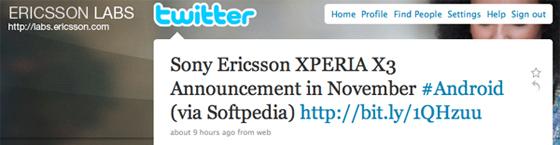 xperia x3 ericcson labs tweet