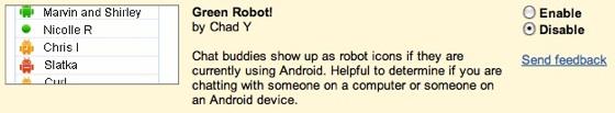 green robot inschakelen