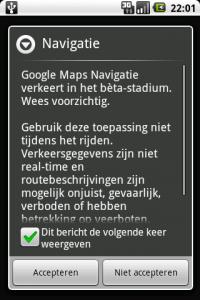 Google Maps Navigatie EULA