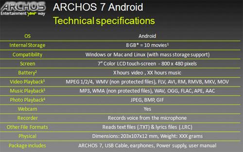 archos 7 specs