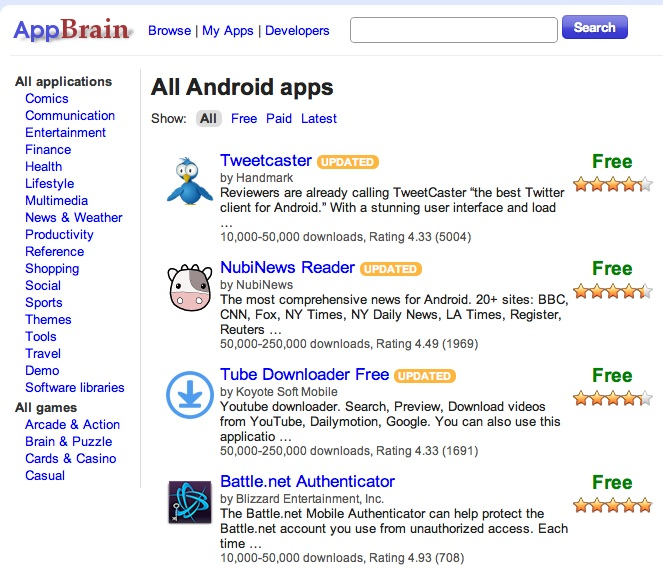 appbrain application browser