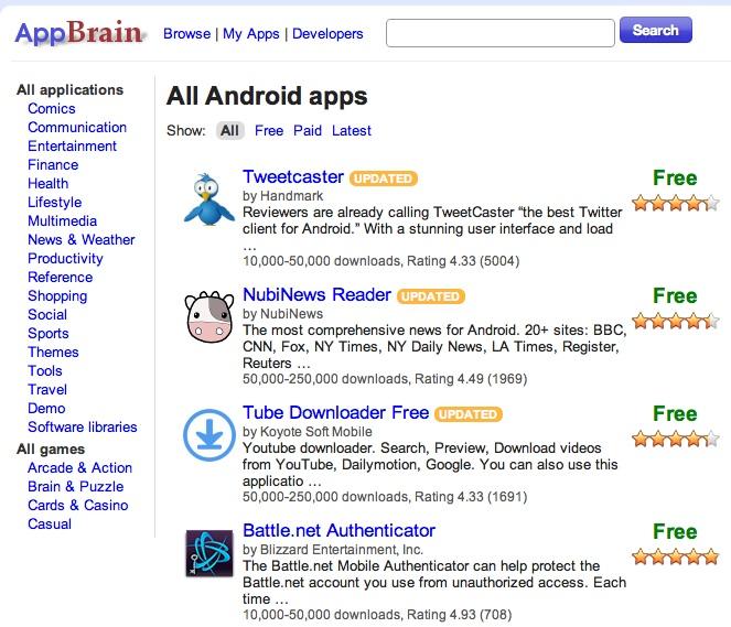 appbrain application browser