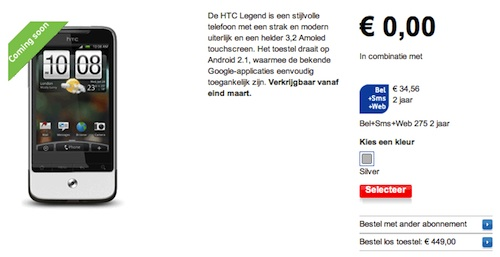 HTC Legend Vodafone pre-order