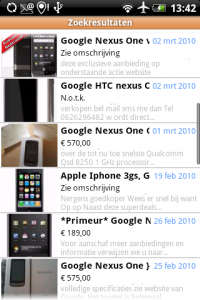 Marktplaats Android resultaten