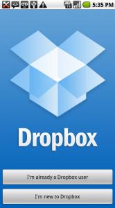 Het splashscreen van Dropbox.