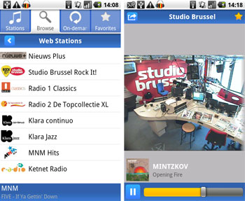 Radio.be voor Android bevat 82 Belgische radiozenders