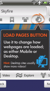 SkyFire Load Pages