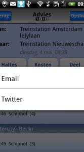 Je reis delen via Twitter of e-mail.