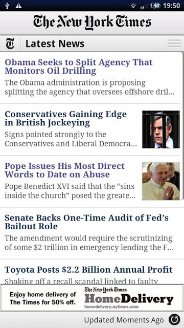 New York Times heeft eigen Android-applicatie
