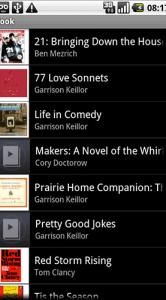 De lijst met boeken in Audiofy.