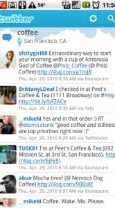Lokaal zoeken met Twitter voor Android.