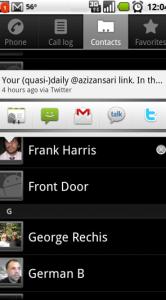 Twitter voor Android: de lijst met contactpersonen.
