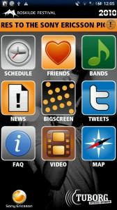 Roskilde Festival app menu