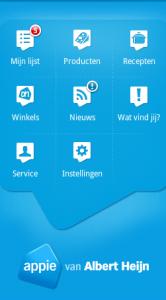 Het homescreen van Appie voor Android.