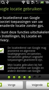 Aangeven of je de locatiedienst van Google wilt gebruiken.