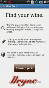 Openingsscherm van Drync Wine.