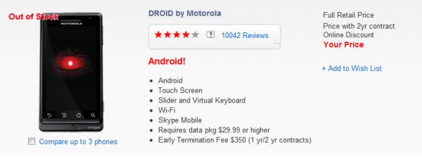 Motorola Droid, vaarwel!