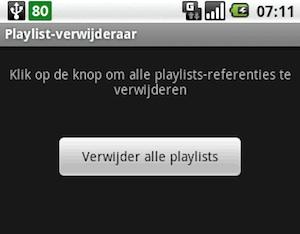 Playlist-verwijderaar voor Android wist alle afspeellijsten