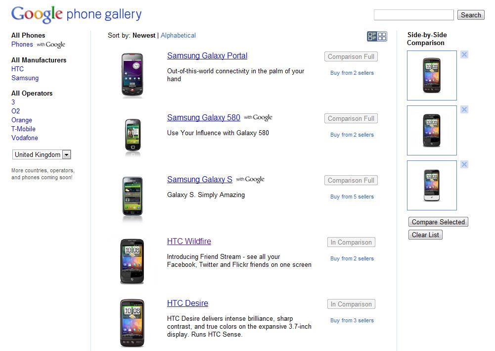 Google lanceert vergelijkingssite voor Android-telefoons