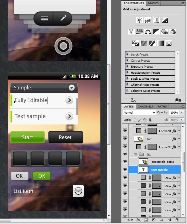 Superhandige Photoshop-template voor Android-ontwikkelaars of -designers