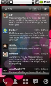 LauncherPro Plus voegt Twitter-widget toe