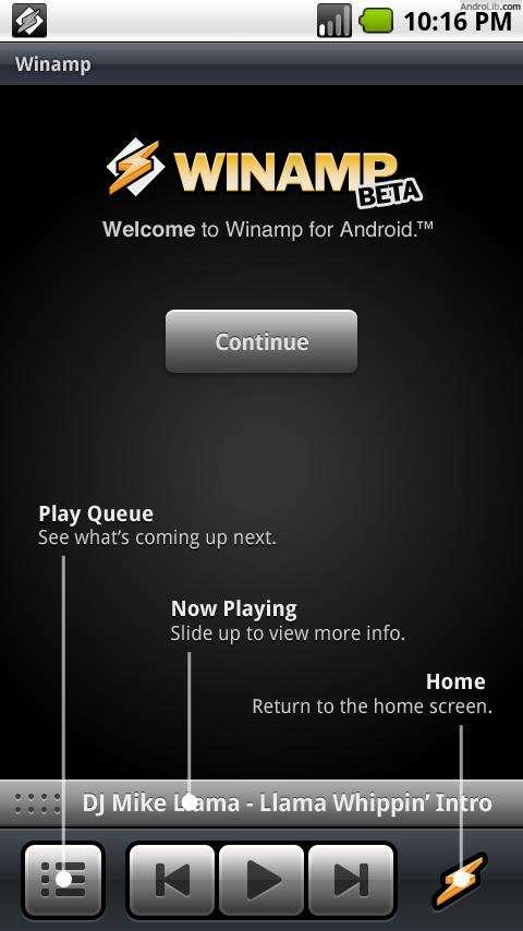 Winamp voor Android in Market met lockscreen-widget