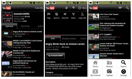 Nieuwe YouTube-applicatie in Market