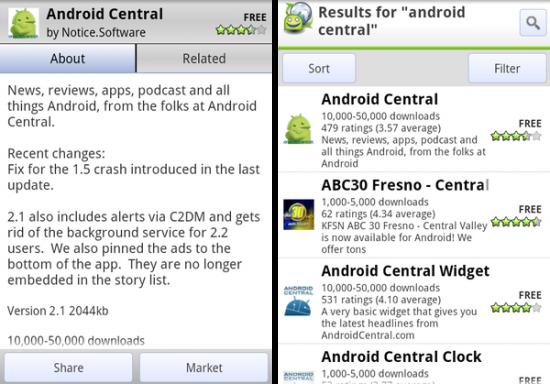AppBrain 5: gerelateerde apps en Fast Sync-widget