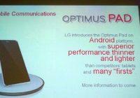 Gerucht: LG Optimus Pad komt begin 2011 met Honeycomb