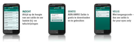 ABN AMRO Saldo-applicatie in de Android Market
