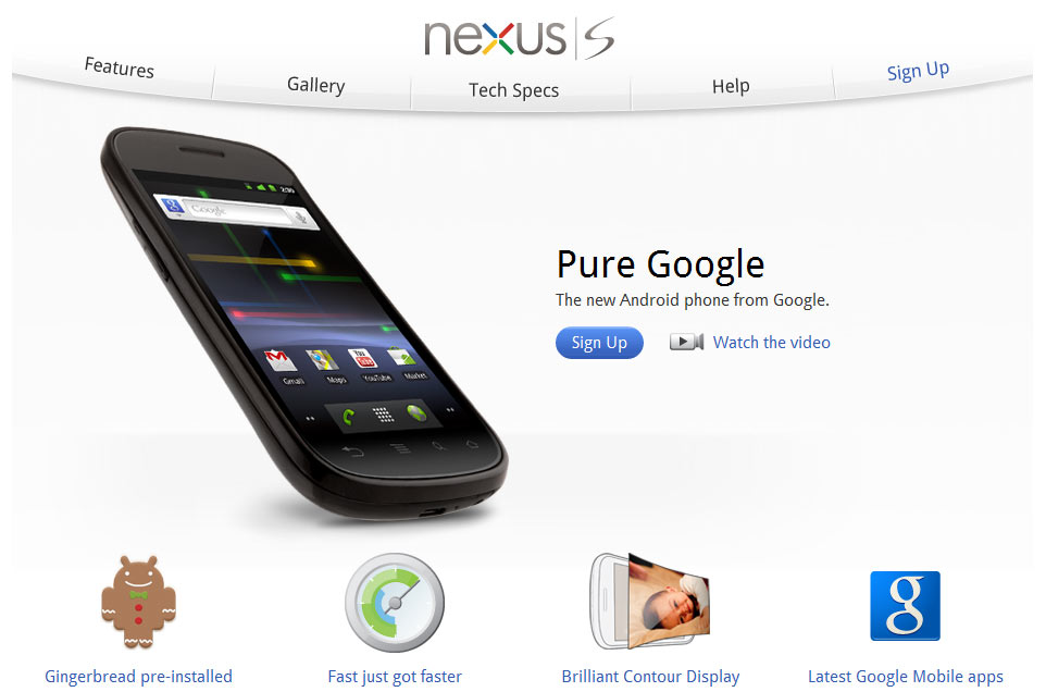 Website Google Nexus S in de lucht