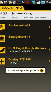 Details over een vlucht.