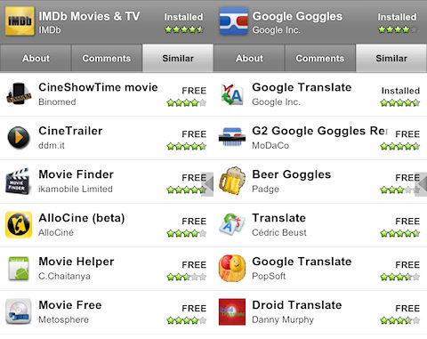 Nieuw tabblad in Android Market: vergelijkbare apps