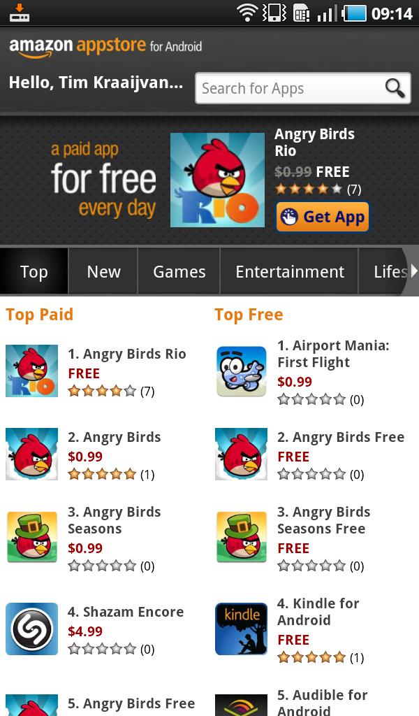Amazon Appstore geopend; Angry Birds Rio gratis te downloaden