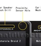 Motorola Milestone 3 - bovenkant voorzijde