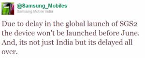Samsung Galaxy S II uitgesteld