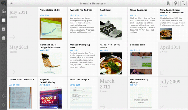 Evernote tabletinterface