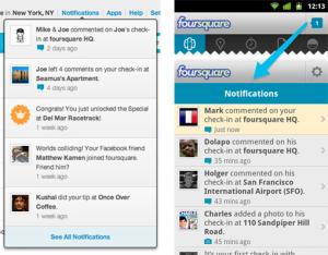 Notificatiegedeelte Foursquare