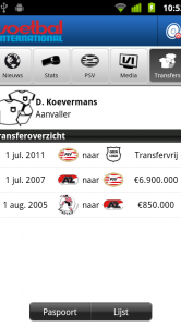 Transferoverzicht per speler