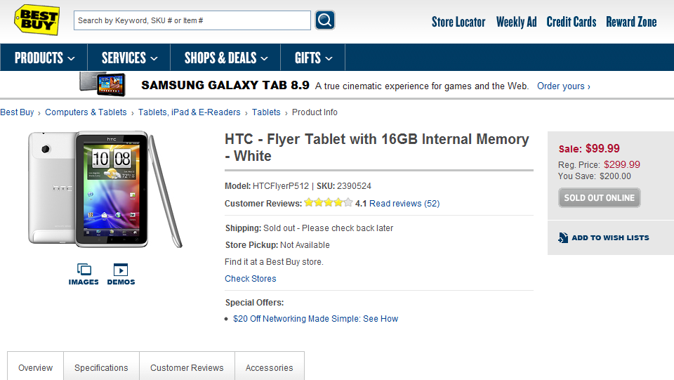 HTC Flyer voor 99 dollar op Best Buy website