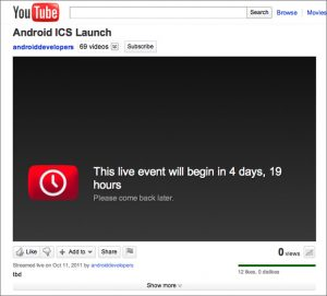 Google's YouTube bevestigt 11 oktober als lanceerdatum Ice Cream Sandwich