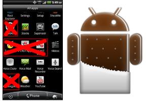 Ice Cream Sandwich kan voorgeïnstalleerde apps stoppen