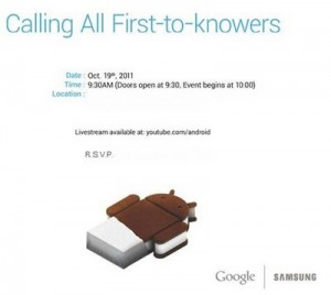 Nexus Prime en Ice Cream Sandwich presentatie op 19 oktober