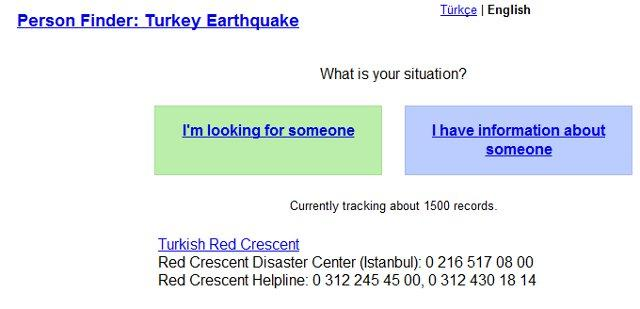 Google brengt Person Finder in het Turks uit vanwege grote aardbeving