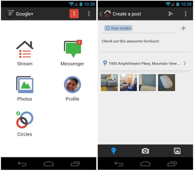Google+ voor Android compleet aangepast aan design Ice Cream Sandwich